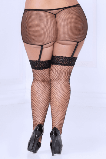 Plus Size Fishnet Thigh Highs & Garterbelt