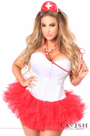 Plus Size Flirty Nurse Corset Costume