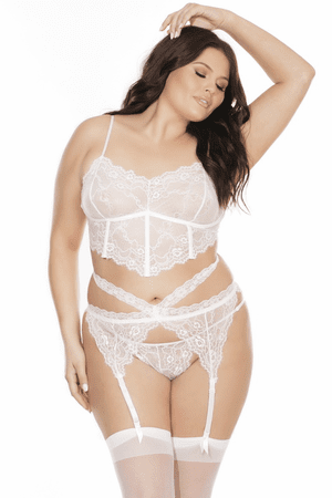 Plus Size Forever Yours White Lace Bra, Garterbelt & Panty