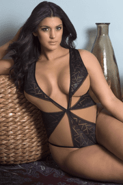 Plus Size Geometric Lace Teddy