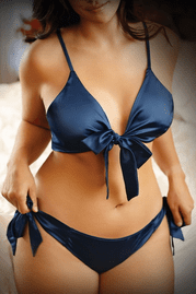 Plus Size Girl U Want Satin Tie Front Top & Panty