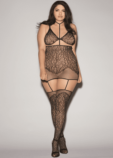 Plus Size Give It Up Bra, Garter Skirt, & Stockings Set