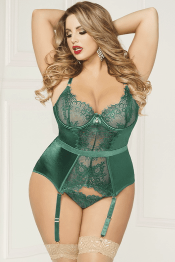 Plus Size Gorgeously Green Bustier & Thong Set