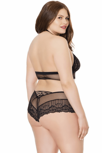 Plus Size Haltered Bra & Boyshort Set