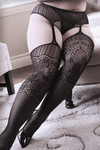 Plus Size Hands On Me Galloon Net Garter Stockings