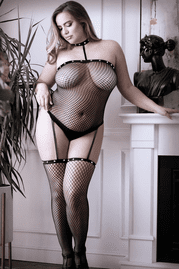 Plus Size Hands To Myself Studded Collar Bodystocking