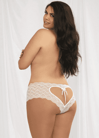 Plus Size Heart Lace Crotchless Panty