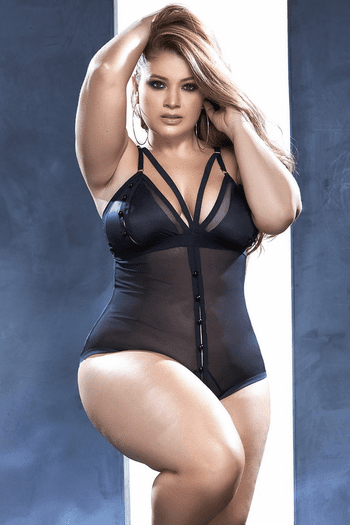 Plus Size Hooked On You Mesh Teddy