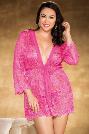 Plus Size Hot Pink All Over Stretch Lace Robe
