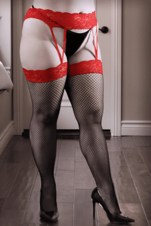 Plus Size I Dare You Lace Gartered Stockings
