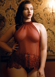 Plus Size Intoxicating Love Wine Red Babydoll & Panty Set