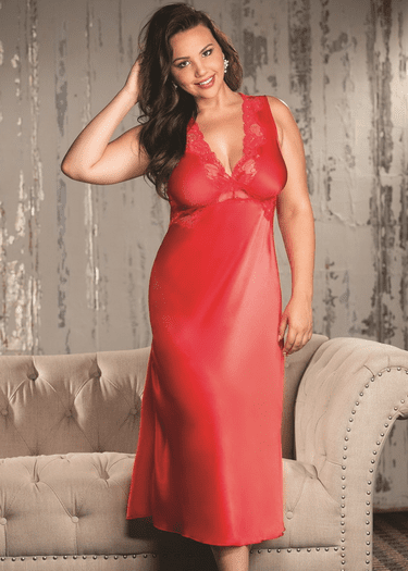 Plus Size Is This Love Charmeuse & Lace Long Gown