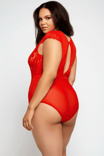 Plus Size Kathren's Red Lace Teddy