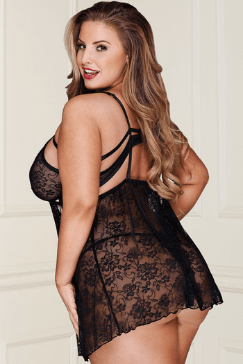 Plus Size Kissing You Tonight Lace Babydoll & Thong Set