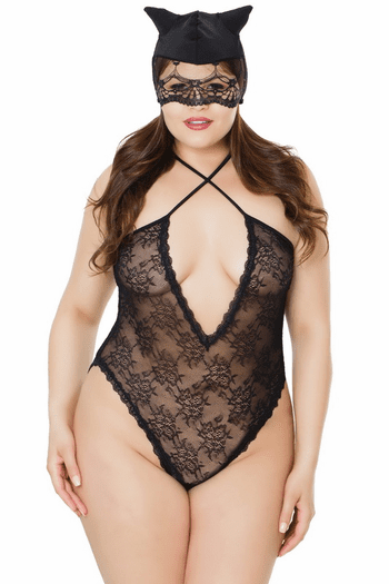 Plus Size Kitty Teddy & Mask Set