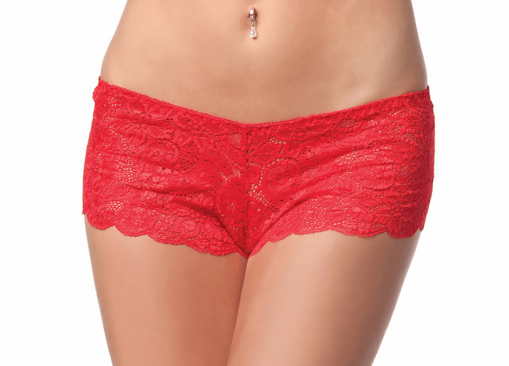 Plus Size Scalloped Lace Booty Short