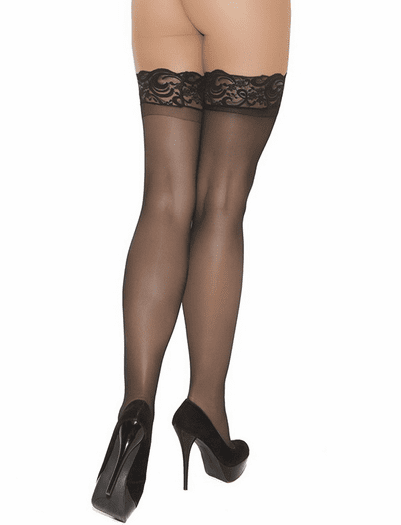 Plus Size Lace Top Sheer Thigh High
