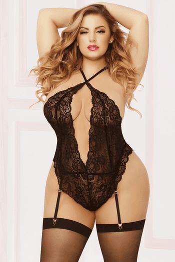 Plus Size Late Night Snap Crotch Teddy & Stockings Set