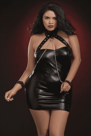 Plus Size Leather Look Collard Chemise