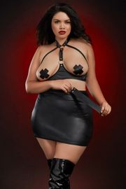 Plus Size Leather-Look Open Cup Bra & Skirt Set