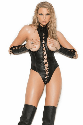 Plus Size Leather Open Cup Teddy