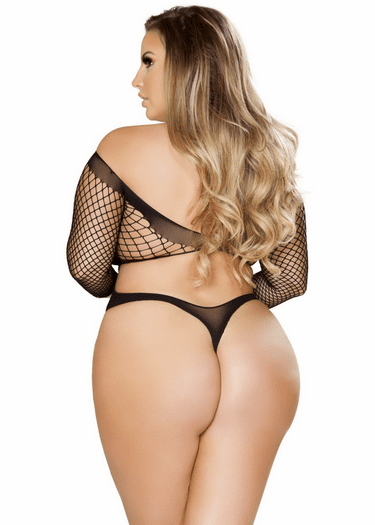 Plus Size Leave Me Lonely Crotchless Teddy