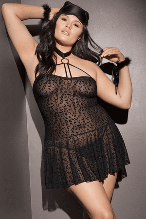 Plus Size Leopard Babydoll, Mask & Cuffs Set
