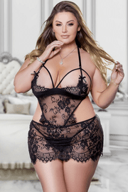 Plus Size Eyelash Lace & Sheer Babydoll Set