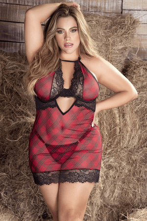 Plus Size Like What You See Plaid Chemise