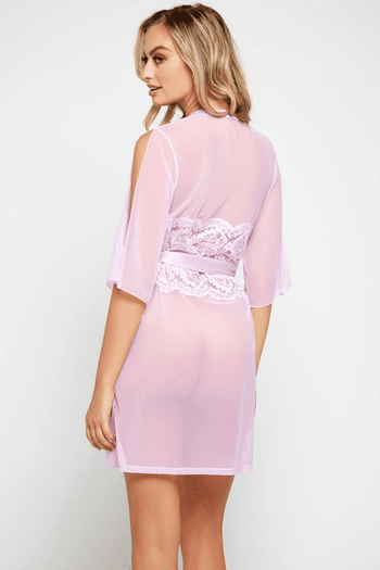 Plus Size Lilac Morning Glory Sheer Cutout Robe