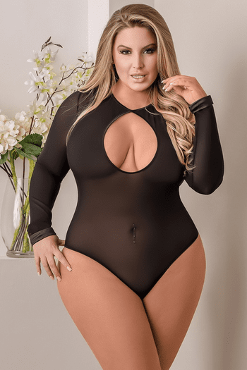 Plus Size Long Sleeve Snap Crotch Teddy