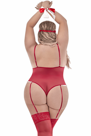 Plus Size Love & Bondage Red Mesh Cupless & Crotchless Teddy Set