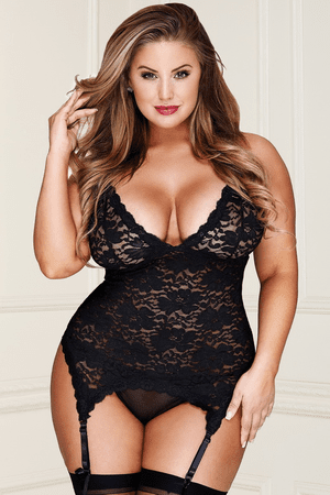 Plus Size Love Me All Night Lace Garter Bustier & Thong Set
