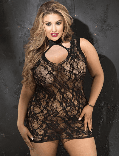 Plus Size Lovely Lace High Neck Chemise