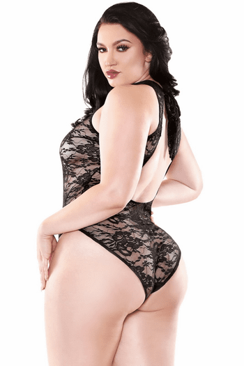 Plus Size Lucky You Lace Snap Crotch Teddy