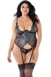Plus Size Metallic Foil Bustier Set