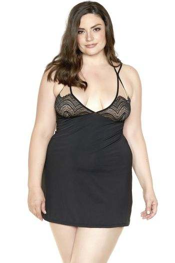 Plus Size Microfiber Lace Cup Babydoll