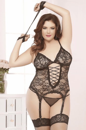 Plus Size Midnight Affair Lace Cami & Handcuffs Set
