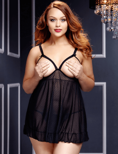 Plus Size Midnight Love Open Cup Babydoll
