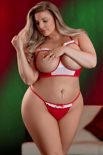 Plus Size Miss Merry Christmas Cupless Red & White Bra Set