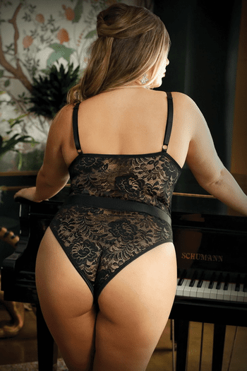 Plus Size Moonlight Black Lace Caged Teddy