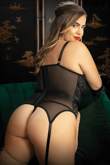 Plus Size Moonlight Caged Lace Bustier