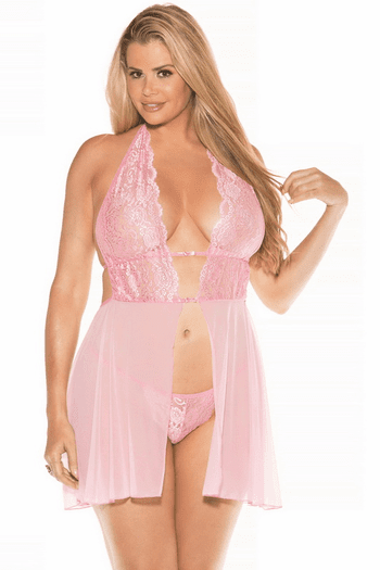 Plus Size My Adorable Lace Babydoll & G-String Set
