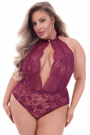 Plus Size Mystery of Love Wine Lace Teddy
