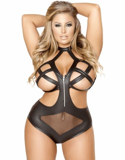Plus Size Naughty By Nature Fishnet Teddy