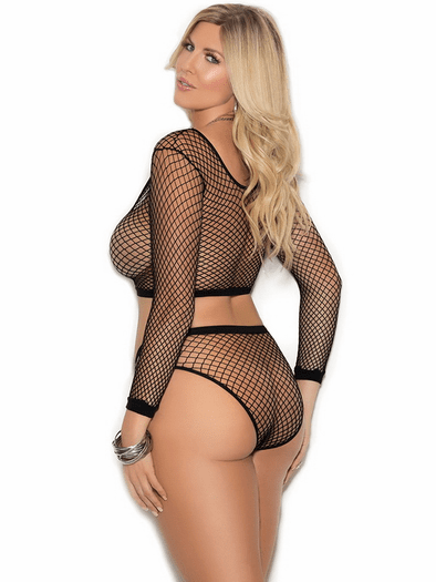 Plus Size Naughty Fishnet Crop Top & Panty Set