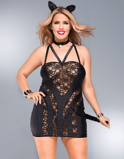 Plus Size Naughty Kitty Chemise Bedroom Costume Set