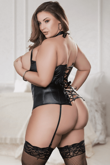 Plus Size Naughty Lil' Fantasy Open Bust Faux Leather Corset