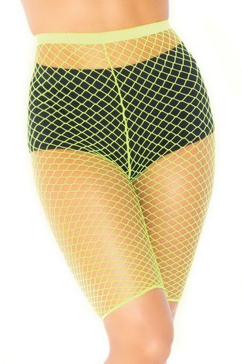 Plus Size Neon Yellow Industrial Net Biker Shorts