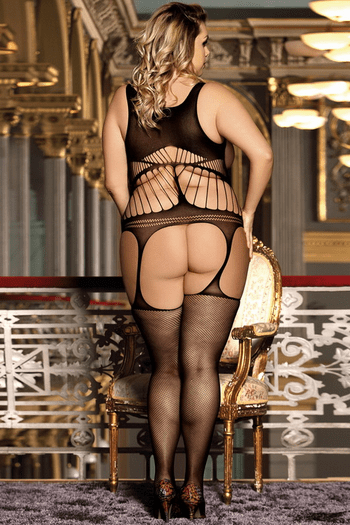 Plus Size Netted Open Cup Bodystocking